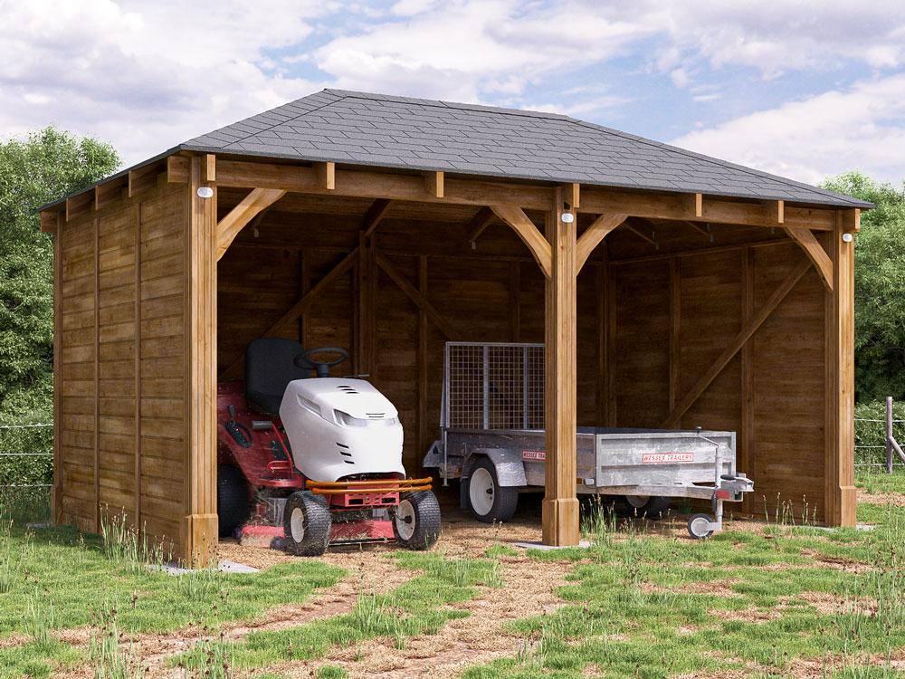 Wooden Garage Canopy Double Car Port Shelter Artemis W16 ...