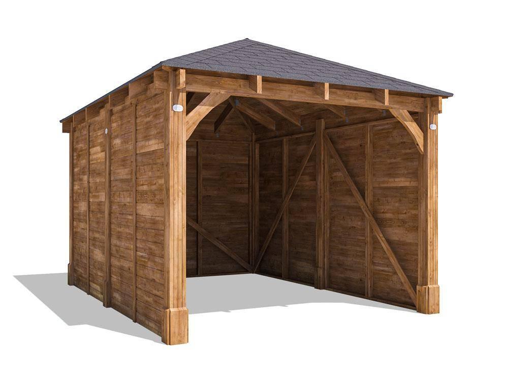 Olympus Single Wooden Carport W3.2m x D4.2m   Carports