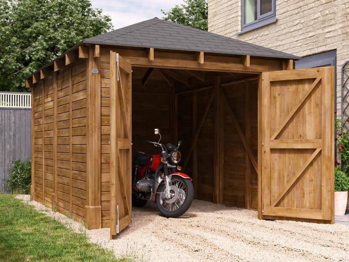 Olympus Single Wooden Garage W3.2m x D4.2m