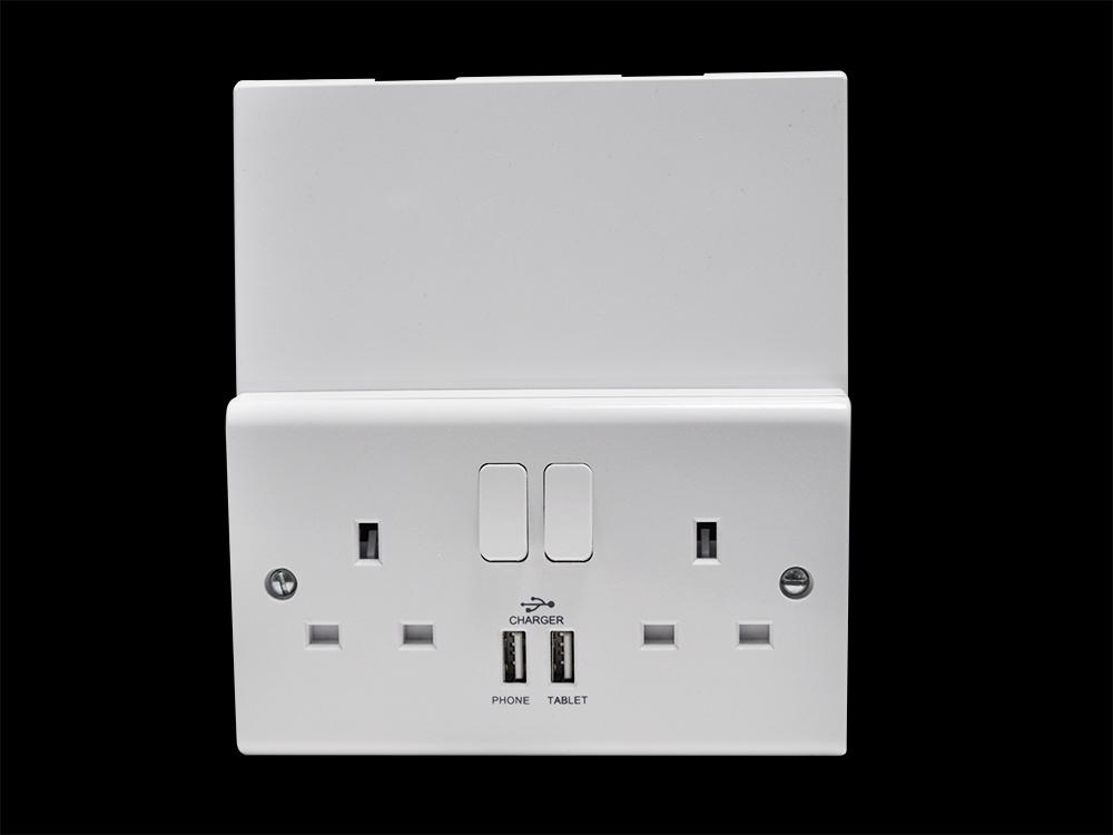 Double Gang Plug Socket with USB Ports