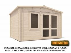 Rhine INSULATED Log Cabin W3.8m x D3.0m