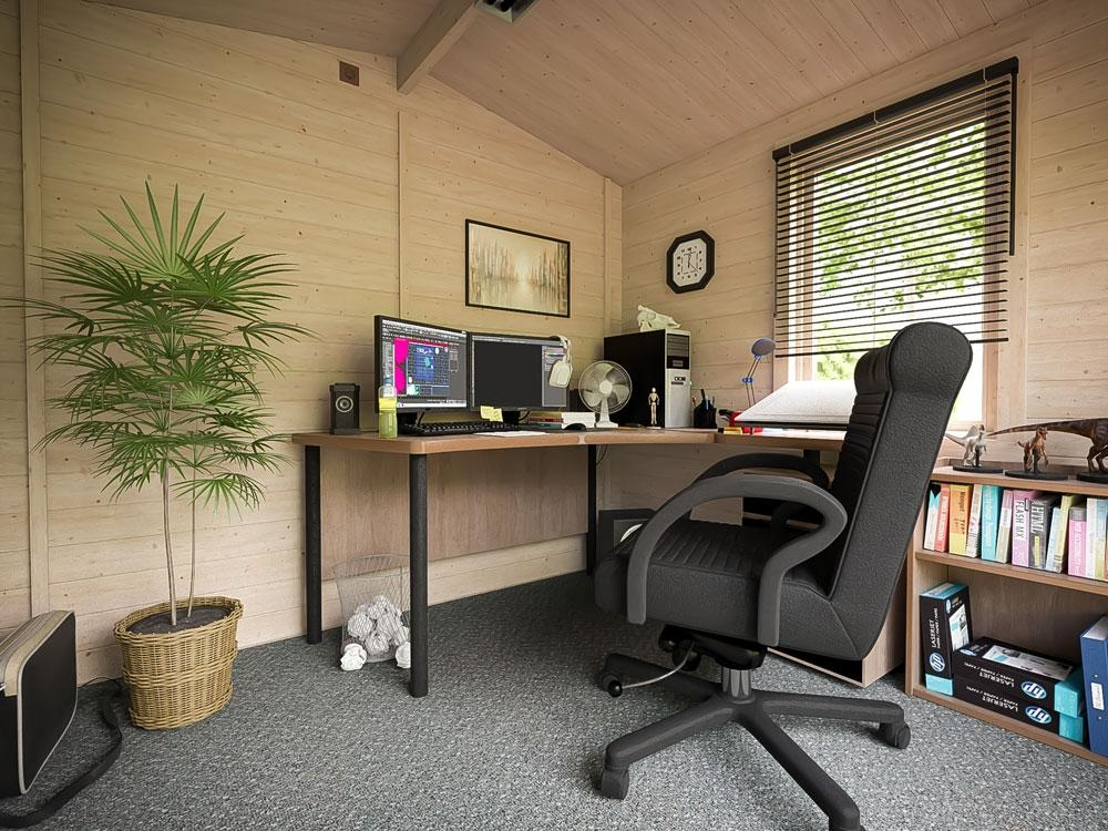 Insulated log cabin garden office summer house man cave for Insulated office
