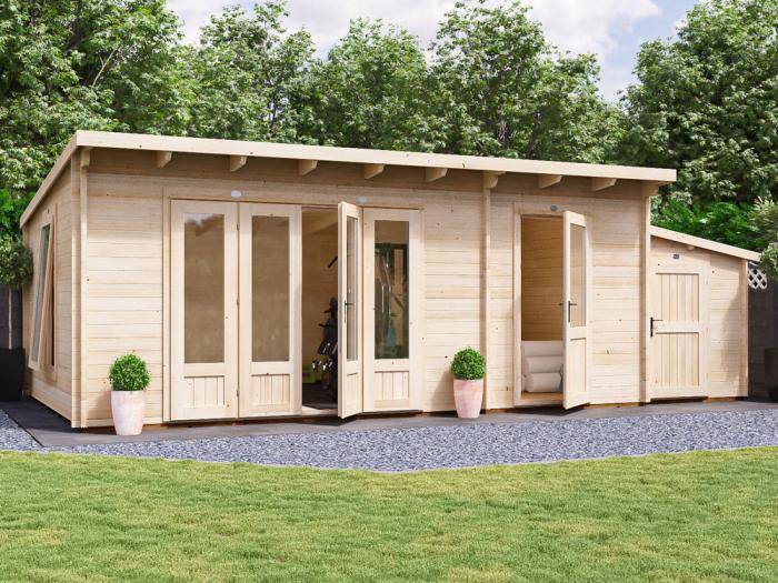 BundleDuck Log Cabin with Sidestore W7.4m x D3.8m | Log Cabins