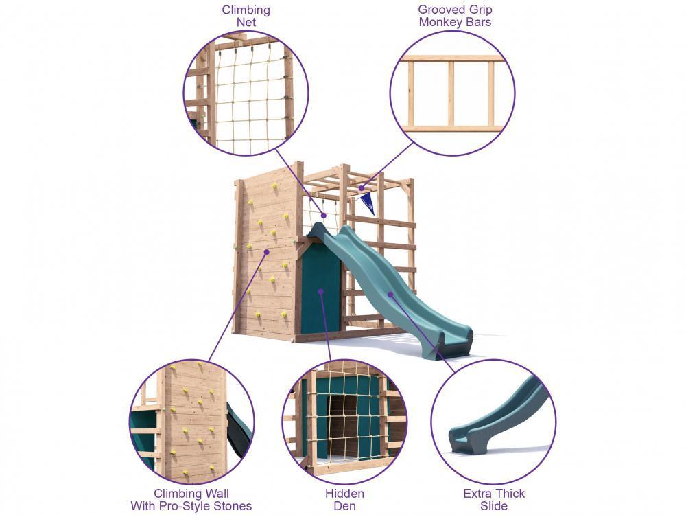 Fort Challenge Climbing Frame with slide W2.1m x D3.5m
