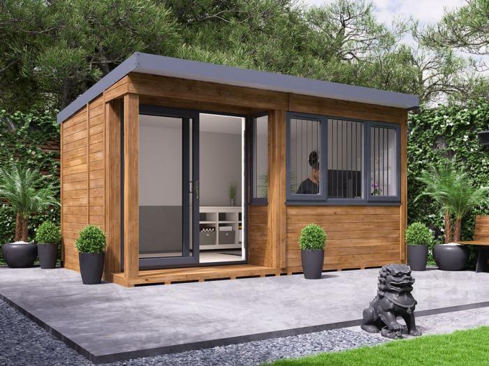 Helena Left Hand Garden Office W4.3m x D2.7m   Garden Offices