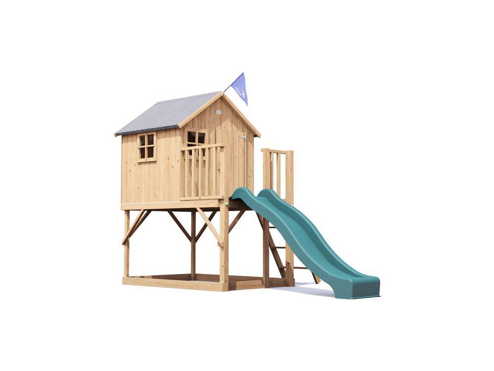 playhouse slide set big wooden clubhouse outdoor kids tree. Black Bedroom Furniture Sets. Home Design Ideas