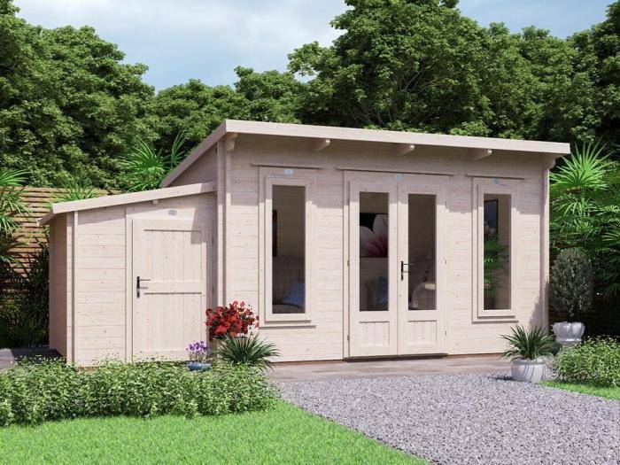 Terminator Log Cabin with Sidestore W5.5m x D3.0m | Log Cabins