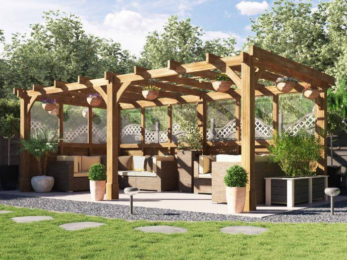 Atlas Glazed Wall Pergola W6.0m x D3.0m | Dunster House