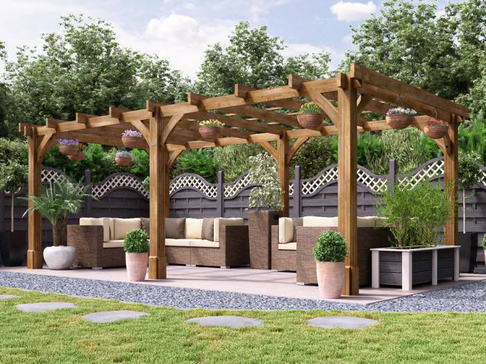 Atlas Wooden Pergola W6.0m x D3.0m | Pergolas | Dunster House