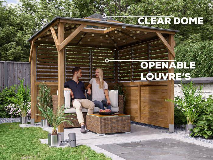 Erin Louvre Walled Gazebo with Dome W2.5m x D2.5m | Gazebos