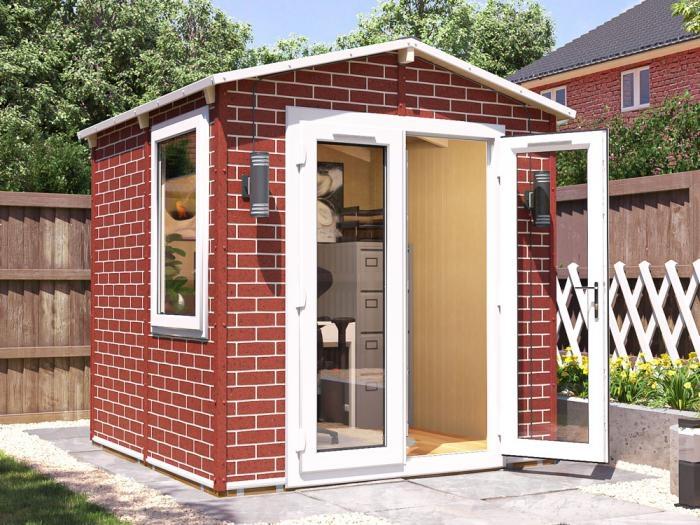 Tegla Garden Office 2.2m x 2.2m | Brick Effect WPC Garden Office