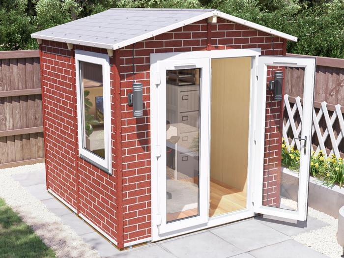 Tegla Garden Office 2.2m x 2.2m | Brick Effect WPC Exterior
