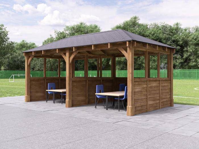 Atlas Gazebo with Partition & Glazed Panels W6.0m x D3.2m